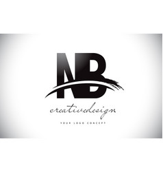 Nb n b letter logo design with swoosh and black vector