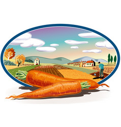 Oval frame with agricultural landscape and two vector