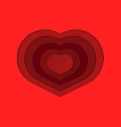 paper art of red heart love or valentines vector image