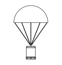 Parachute with cargo the black color icon vector