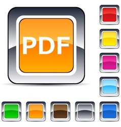 Pdf square button vector