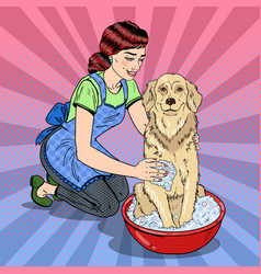 Pop art happy woman washing their dog vector