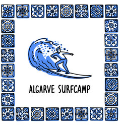 Portugal landmarks set algarve surfcamp surfer vector