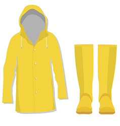 Rain coat and rubber boots vector image