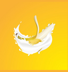 Realistic banana and milk splash vector