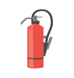 Red color fire extinguisher in flat or cartoon vector