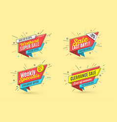 retro-futuristic promotion banner price tag and vector image