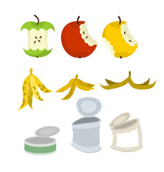 Rubbish set garbage collection apple core and vector
