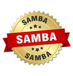 Samba 3d gold badge with red ribbon vector