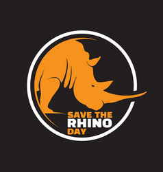 Save rhino day lettering design vector