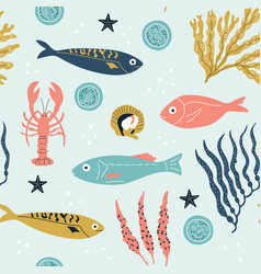 seamless childish pattern with cute sea fishes vector image