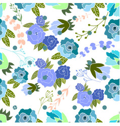 Seamless pattern with blue roses and leaves vector