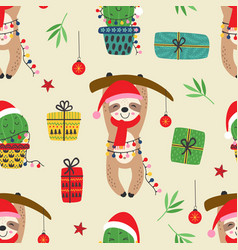 Seamless pattern with christmas sloth and cactus vector