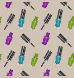 seamless pattern with realistic nail polishes vector image