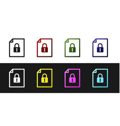 Set document and lock icon isolated on black and vector