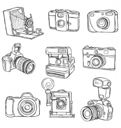 set of photo cameras vector image