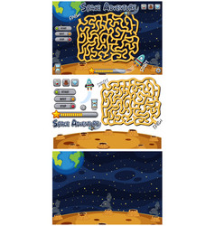 set puzzle game on space background vector image