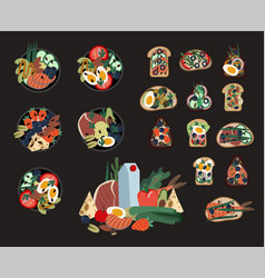 set sandwiches and poke bowls healthy food vector image