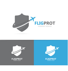 shield and airplane logo combination vector image