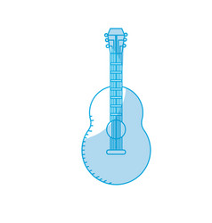 Silhouette guitar musical instrument to play music vector