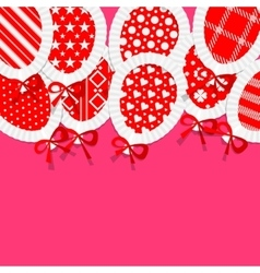 Simple Red Paper Balloons with Pattern Fill Lace vector image