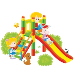 slide in a park vector image