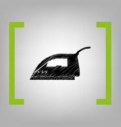 smoothing iron sign black scribble icon vector image