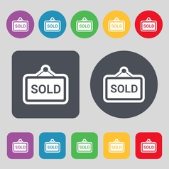 Sold icon sign A set of 12 colored buttons Flat vector
