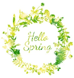 Spring watercolor wreath vector