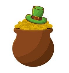 st patricks day hat and coins design vector image