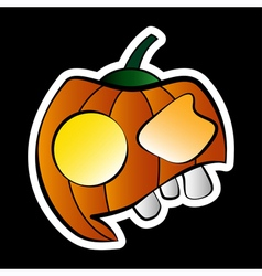 Sticker - halloween orange pumpkin with face vector