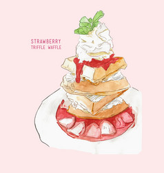 strawberry triffle waffle water color vector image
