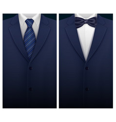 suit background with bow tie vector image