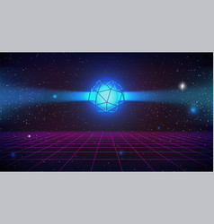 Synthwave retro future background wireframe vector