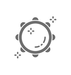 Tambourine timbrel tabour grey icon isolated vector