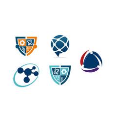 technology connection logo set vector image
