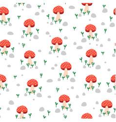 toadstool seamless repeat pattern mushroom vector image