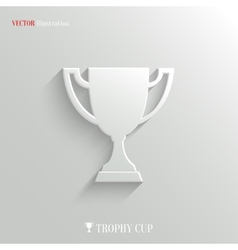 Trophy cup icon - white app button vector image