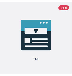 Two color tab icon from web concept isolated blue vector