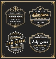 Vintage denim jeans frame logo for your business vector image