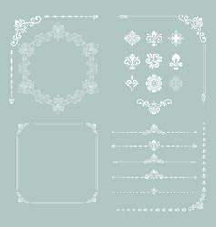 Vintage set of horizontal square and round vector