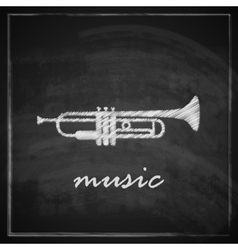 vintage with the trumpet on blackboard background vector image