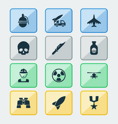 Warfare icons set collection of cranium order vector
