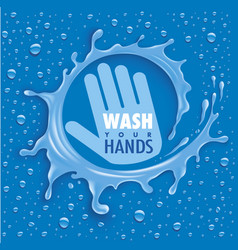 Wash your hands-blue background with water drops vector
