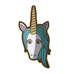 White background with front face of unicorn and vector