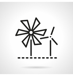 Wind turbine and mill black line icon vector