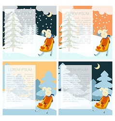 Winter postcarts with Hare vector image