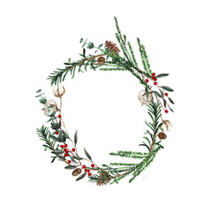 Wreath with pine branches and red berries cotton vector