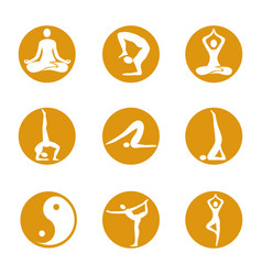 yoga icons on round background vector image