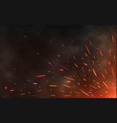 fire sparks flying up on transparent background vector image vector image